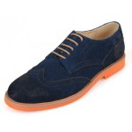 Blue Navy Vintage Suede Orange Sole Lace Up Baroque Mens Oxfords Dress Shoes