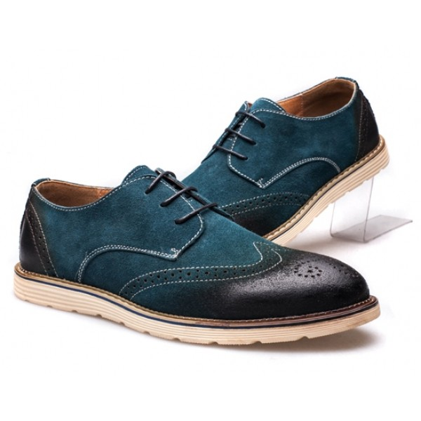 Blue Vinage Suede Lace Up Baroque Mens Oxfords Dress Shoes