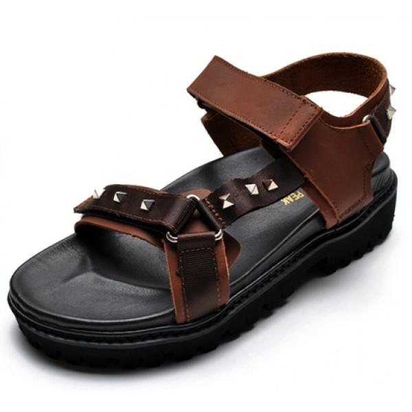 Brown Leather Straps Square Studs Thick Sole Mens Roman Gladiator Sandals