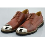 Brown Metal Cap Punk Rock Leather Lace Up Mens Oxfords Dress Shoes