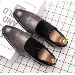 Grey Suede Slip On Baroque Vintage Dapperman Flats Dress Shoes Loafers