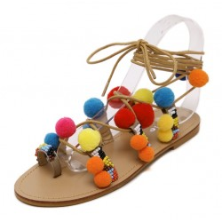 Khaki Colorful Fur Pom Suede Gladiator Flats Roman Sandals