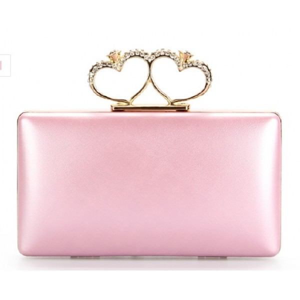 Pink Pearl Double Gold Heart Diamante Rings Evening Clutch Purse Jewelry Box