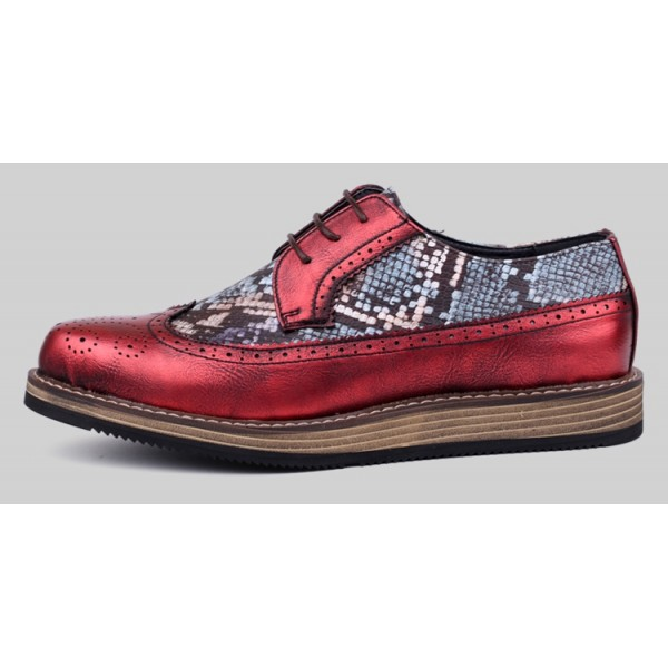 Red Metallic Snake Skin Lace Up Baroque Mens Oxfords Dress Shoes