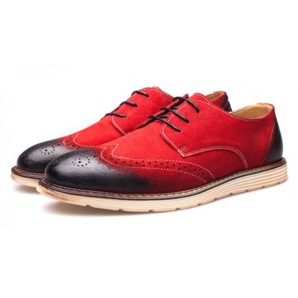Red Vinage Suede Lace Up Baroque Mens Oxfords Dress Shoes