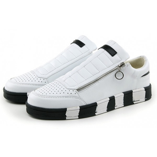 White Black Sole Side Zipper Mens Sneakers Shoes