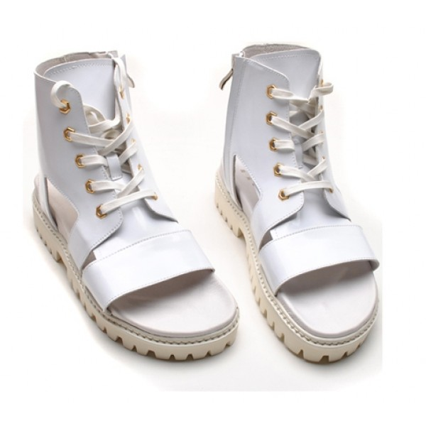 White Patent Leather High Tops Boots Bootie Mens Roman Gladiator Sandals