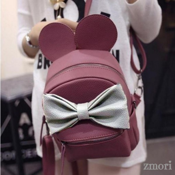 Purple Pink Giant Bow Mouse Ears Mini Backpack Cross Body Bag