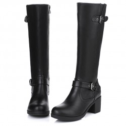 Black Vintage Combat Rider Long High Heels Boots Shoes