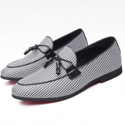 Black White Houndstooth Tassels Mens Loafers Prom Dress Shoes