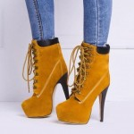 Punk Rock Lace Up Stiletto High Heels Platform Yellow Black Rider Boots