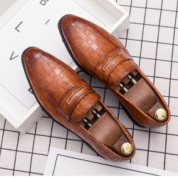Brown Croc Formal Prom Party Loafers Flats Dress Shoes