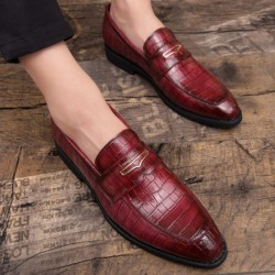 Burgundy Croc Formal Prom Party Loafers Flats Dress Shoes