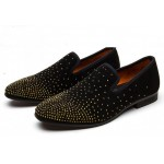 Black Gold Polkadots Glitters Velvet Loafers Flats Dress Shoes