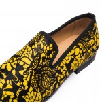 Yellow Black Lace Pony Fur Leather Loafers Flats Dress Shoes