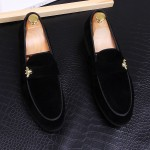Black Velvet Gold Bees Loafers Dress Flats Shoes