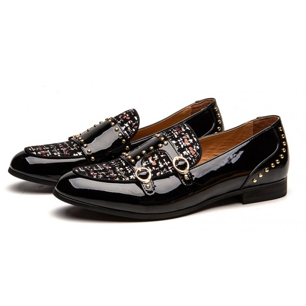 Black Patent Wool Studs Monk Straps Leather Loafers Flats Dress Shoes