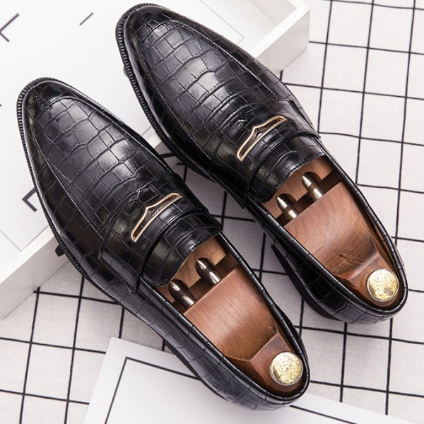 Black Croc Formal Prom Party Loafers Flats Dress Shoes