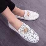 White Spider Net Web Loafers Dress Flats Shoes