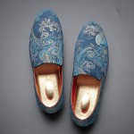 Blue Satin Embroidered Paisleys Dapper Man Loafers Dress Shoes Flats