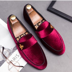 Burgundy Velvet  Gold Bee Prom Party Loafers Flats Dress Shoes