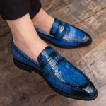 Blue Royal  Teal Croc Formal Prom Party Loafers Flats Dress Shoes