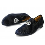Blue Navy Polkadots Glitters Velvet Loafers Flats Dress Shoes