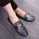Black Spider Net Web Loafers Dress Flats Shoes