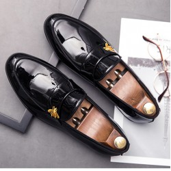 Black Patent Glossy Gold Bee Prom Party Loafers Flats Dress Shoes