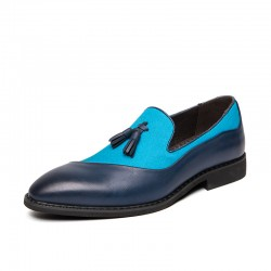 Blue Aqua Teal Tassels Leather Prom Party Loafers Flats Dress Shoes