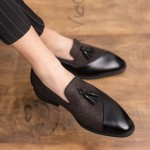 Brown Tassels Leather Prom Party Loafers Flats Dress Shoes