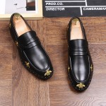 Black Embroidered Studs Gold Bees Loafers Dress Flats Shoes