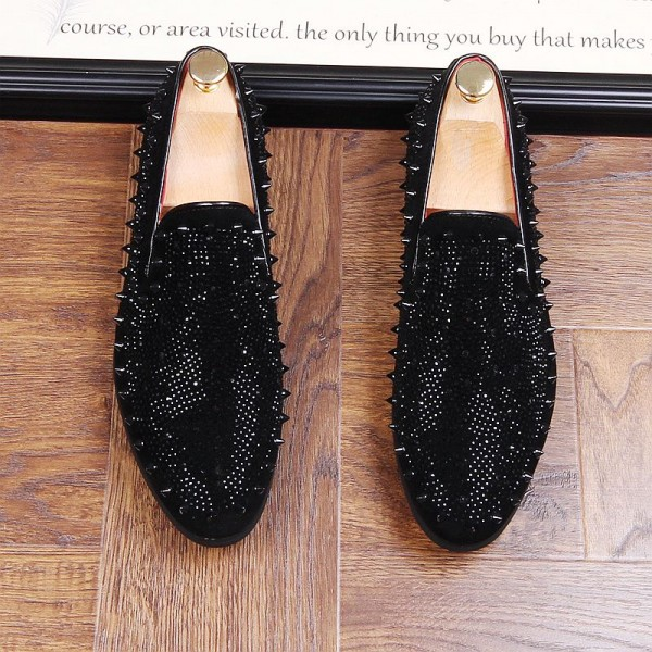 Black Diamantes Spikes Studs Loafers Dress Flats Shoes