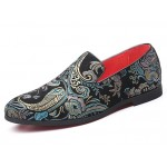 Black Satin Embroidered Paisleys Dapper Man Loafers Dress Shoes Flats
