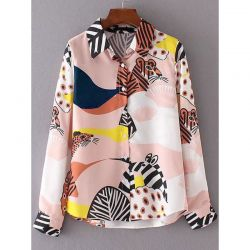 Pink Colorful Zebra Leopard Animal Print Shirt Top Blouse