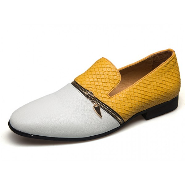 Yellow White Croc Point Head Patent Leather Loafers Flats Dress Shoes