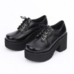 Black Old School Lace Up Lolita Oxfords Chunky Heels Creepers Shoes