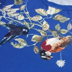 Blue White Leaves Birds Round Neck Short Sleeves Mens T-Shirt