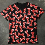 Black Red Ribbon Round Neck Short Sleeves Mens T-Shirt