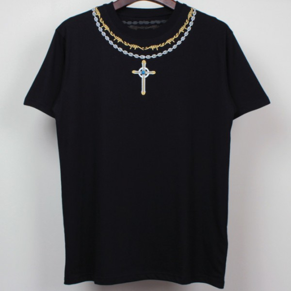 Black White Cross Emblem Necklace Round Neck Short Sleeves Mens T-Shirt