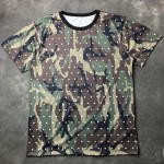 Green Army Camouflage Round Neck Short Sleeves Mens T-Shirt