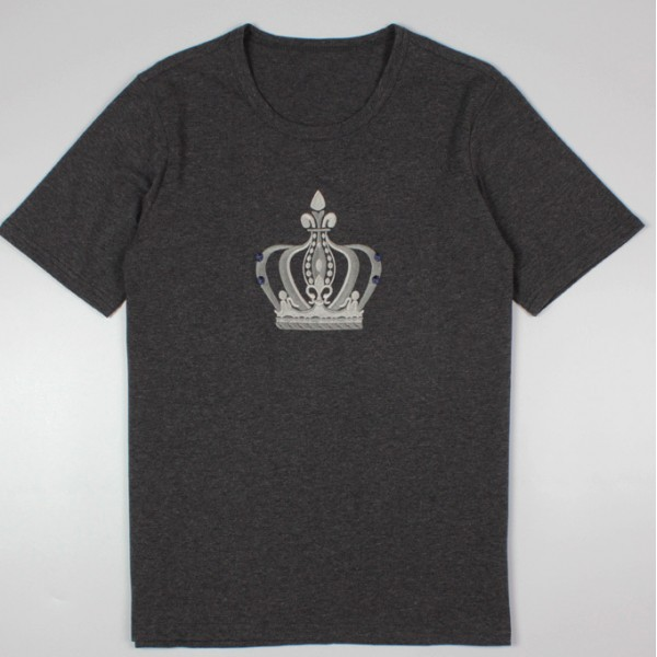 Grey Black Crown King Round Neck Short Sleeves Mens T-Shirt