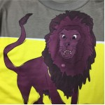 Grey Blue Yellow Lion on Rock Round Neck Short Sleeves Mens T-Shirt