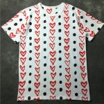White Black Dots Heart Round Neck Short Sleeves Funky Mens T-Shirt