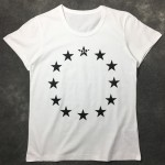 White Euro Stars Round Neck Short Sleeves Funky Mens T-Shirt