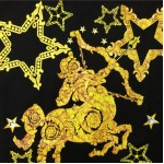 Black Gold Sagittarius Stars Round Neck Short Sleeves Funky Mens T-Shirt