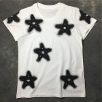 Black White Stars Spray Paint Round Neck Short Sleeves Funky Mens T-Shirt