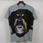 Black Grey Rottweiler Fierce Dog Round Neck Short Sleeves Funky Mens T-Shirt