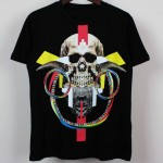 Black Colorful Skull Horn Earrings Round Neck Short Sleeves Funky Mens T-Shirt