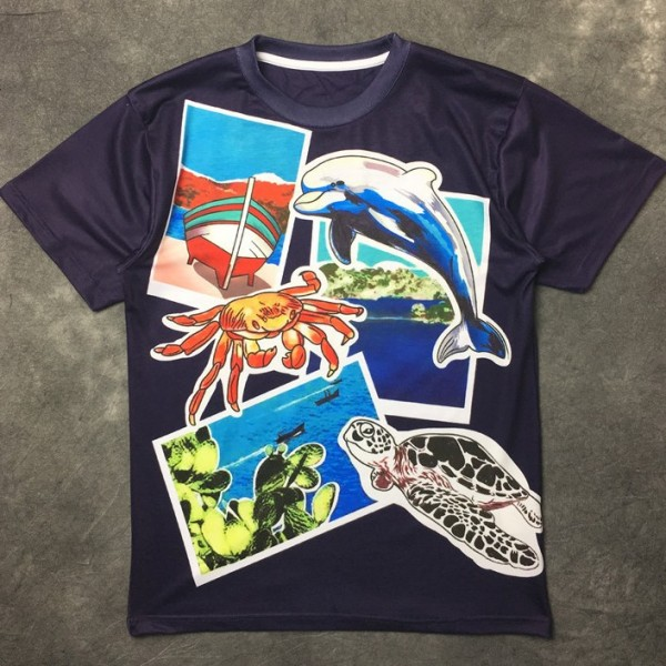 Blue Dolphin Crab Turtle Ocean Round Neck Short Sleeves Funky Mens T-Shirt